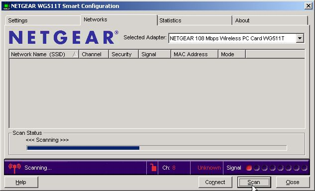Netgear Smart Configuration Utility scanning for wireless networks