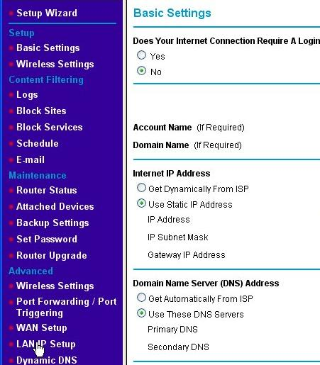 The router's LAN IP Setup page