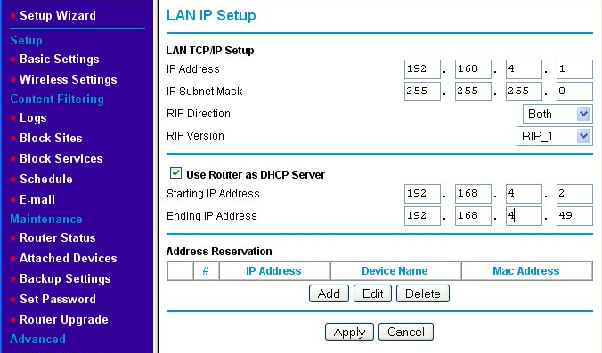 New LAN IP address