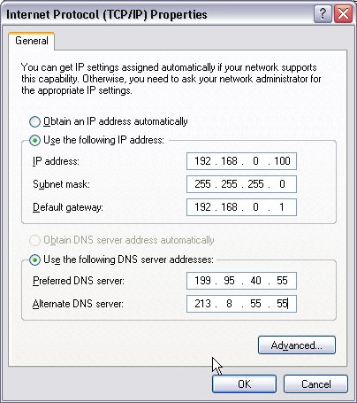 Manually set a new IP address