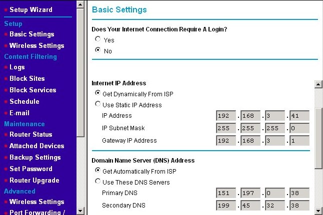 Using the router's status page to determine your DNS server's IP addresses
